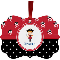 Girl's Pirate & Dots Metal Frame Ornament - Double Sided w/ Name or Text