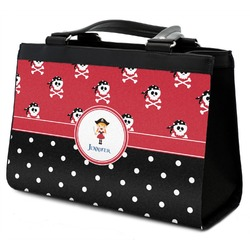 Girl's Pirate & Dots Classic Tote Purse w/ Leather Trim w/ Name or Text