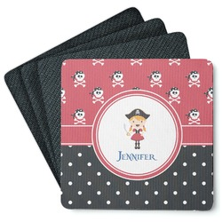 Girl's Pirate & Dots 4 Square Coasters - Rubber Backed (Personalized)