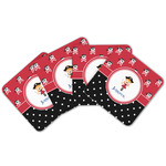 Girl's Pirate & Dots Cork Coaster - Set of 4 w/ Name or Text