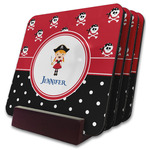Girl's Pirate & Dots Coaster Set w/ Stand (Personalized)
