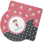 Girl's Pirate & Dots Rubber Backed Coaster (Personalized)