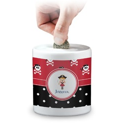 Girl's Pirate & Dots Coin Bank (Personalized)