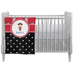 Girl's Pirate & Dots Crib Comforter / Quilt (Personalized)