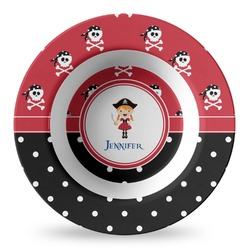 Girl's Pirate & Dots Plastic Bowl - Microwave Safe - Composite Polymer (Personalized)
