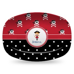 Girl's Pirate & Dots Plastic Platter - Microwave & Oven Safe Composite Polymer (Personalized)
