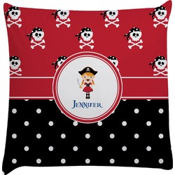 Girl's Pirate & Dots Decorative Pillow Case (Personalized)