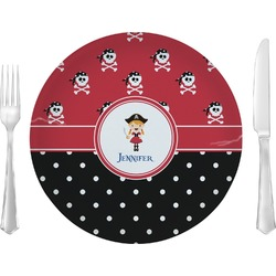 """Girl's Pirate & Dots 10"""" Glass Lunch / Dinner Plates - Single or Set (Personalized)"""