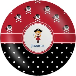 Girl's Pirate & Dots Melamine Plate (Personalized)