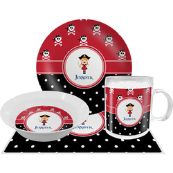 Girl's Pirate & Dots Dinner Set - 4 Pc (Personalized)