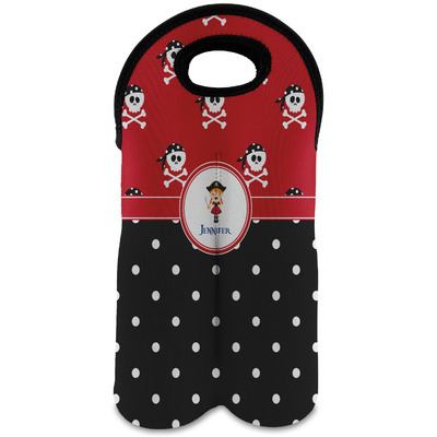 Girl's Pirate & Dots Wine Tote Bag (2 Bottles) (Personalized)