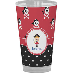 Girl's Pirate & Dots Drinking / Pint Glass (Personalized)