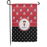 Girl's Pirate & Dots Garden Flag - Single or Double Sided (Personalized)