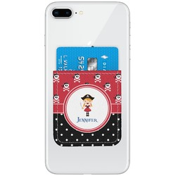 Girl's Pirate & Dots Genuine Leather Adhesive Phone Wallet (Personalized)