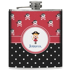 Girl's Pirate & Dots Genuine Leather Flask (Personalized)