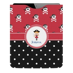Girl's Pirate & Dots Genuine Leather iPad Sleeve (Personalized)