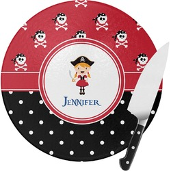 Girl's Pirate & Dots Round Glass Cutting Board (Personalized)