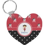 Girl's Pirate & Dots Heart Keychain (Personalized)