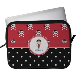 """Girl's Pirate & Dots Laptop Sleeve / Case - 12"""" (Personalized)"""
