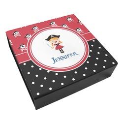 Girl's Pirate & Dots Leatherette Keepsake Box - 3 Sizes (Personalized)