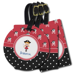 Girl's Pirate & Dots Plastic Luggage Tags (Personalized)
