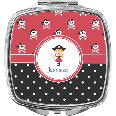 Girl's Pirate & Dots Compact Makeup Mirror (Personalized)