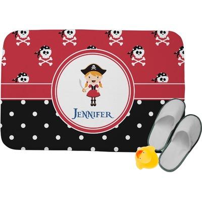 "Girl's Pirate & Dots Memory Foam Bath Mat - 34""x21"" (Personalized)"