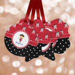 Girl's Pirate & Dots Metal Ornaments - Double Sided w/ Name or Text