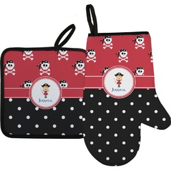 Girl's Pirate & Dots Oven Mitt & Pot Holder (Personalized)