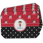 Girl's Pirate & Dots Dining Table Mat - Octagon w/ Name or Text