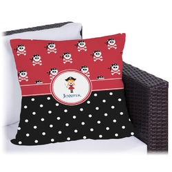 Girl's Pirate & Dots Outdoor Pillow (Personalized)