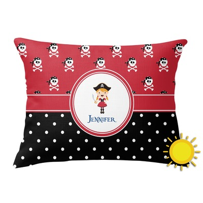 Girl's Pirate & Dots Outdoor Throw Pillow (Rectangular) (Personalized)