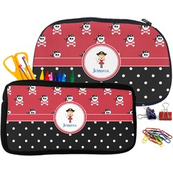 Girl's Pirate & Dots Pencil / School Supplies Bag (Personalized)