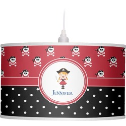 Girl's Pirate & Dots Drum Pendant Lamp (Personalized)