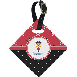 Girl's Pirate & Dots Diamond Luggage Tag (Personalized)