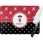 Girl's Pirate & Dots Rectangular Glass Cutting Board (Personalized)