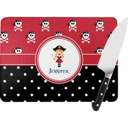 "Girl's Pirate & Dots Rectangular Glass Cutting Board - Medium - 11""x8"" (Personalized)"