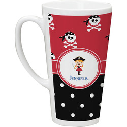 Girl's Pirate & Dots Latte Mug (Personalized)