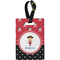 Girl's Pirate & Dots Rectangular Luggage Tag (Personalized)