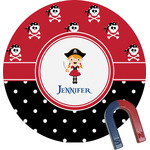 Girl's Pirate & Dots Round Magnet (Personalized)