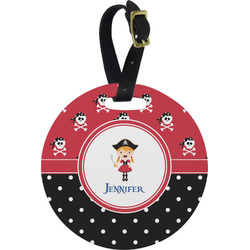 Girl's Pirate & Dots Round Luggage Tag (Personalized)