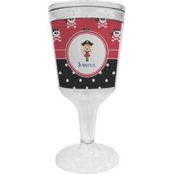 Girl's Pirate & Dots Wine Tumbler - 11 oz Plastic (Personalized)