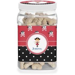 Girl's Pirate & Dots Pet Treat Jar (Personalized)