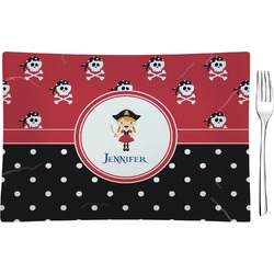 Girl's Pirate & Dots Glass Rectangular Appetizer / Dessert Plate - Single or Set (Personalized)