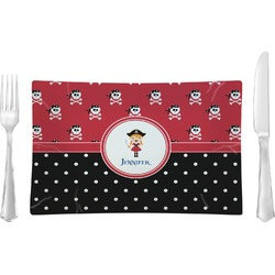 Girl's Pirate & Dots Rectangular Dinner Plate (Personalized)