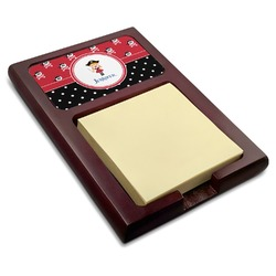 Girl's Pirate & Dots Red Mahogany Sticky Note Holder (Personalized)