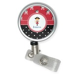 Girl's Pirate & Dots Retractable Badge Reel (Personalized)