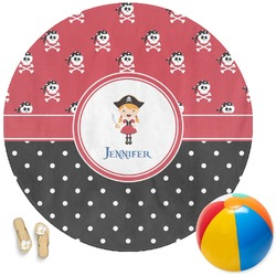 Girl's Pirate & Dots Round Beach Towel (Personalized)