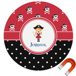 Girl's Pirate & Dots Round Car Magnet (Personalized)