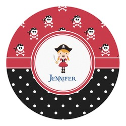 Girl's Pirate & Dots Round Decal - Custom Size (Personalized)